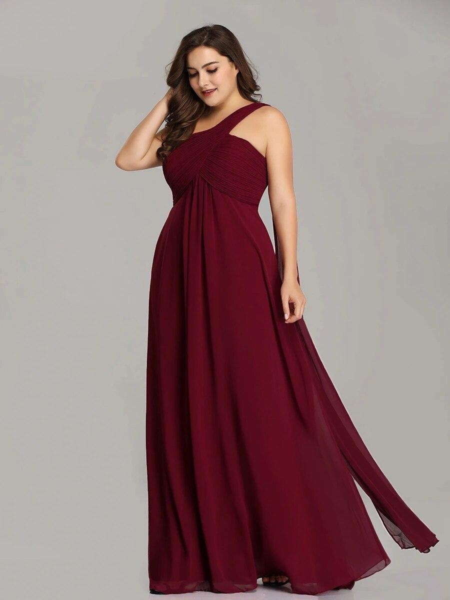 One Shoulder Chiffon Ruffles Plus Size Long Evening Dresses