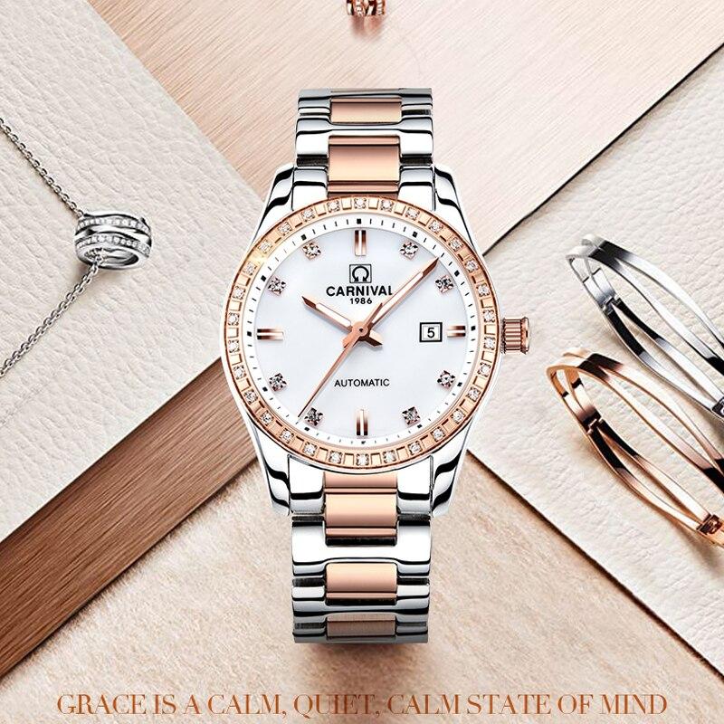 CARNIVAL Brand Fashion Automatic Watch Woman Luxury Waterproof Luminous Casual Calendar Mechanical Wristwatch Relogio Feminino enlarge