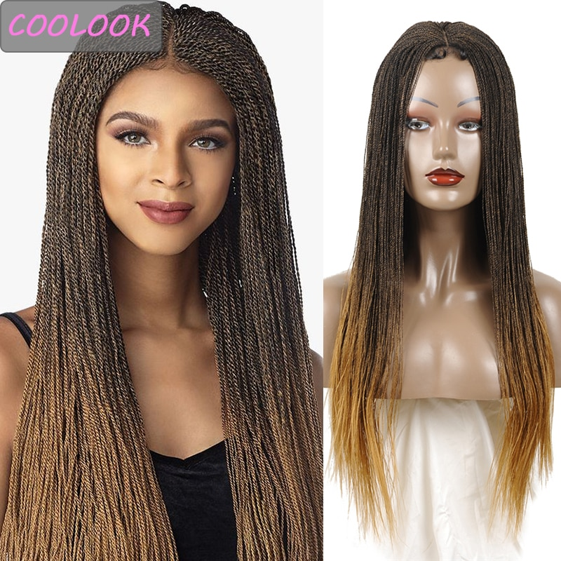 Synthetic Twist Lace Braided Wig for Women 30inch Long Ombre Twisted Lace Front Wig with Baby Hair Heat Resistant Twist Lace Wig