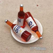 10 шт. кавайная Смола 3D имитация питьевой пивной бутылки миниатюрное искусство с плоским основанием кабошон Сделай Сам крафтовое украшение, ...
