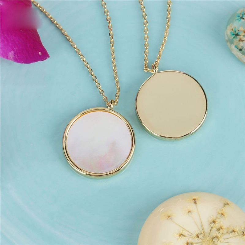 natural white mother of pearl shell handmade 26mm carven flower pendant 18 long SA SILVERAGE White Jewelry Natural Shell Necklace Round Pendant Necklace Women Natural Shell Necklace Gifts for Women and Men