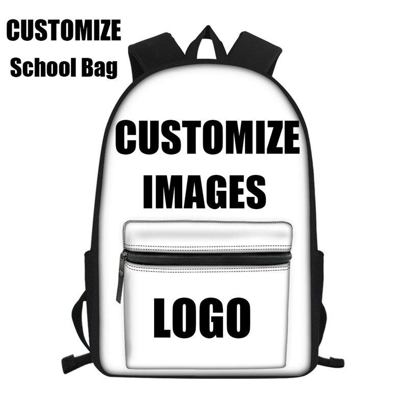 Холст школьные ранцы для мальчиков и девочек пользовательские ваш образ со своим логотипом; 3D принт Водонепроницаемый школьный рюкзак для ...