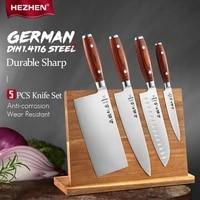 hezhen 5pc knife set cleaver chef santoku utility sharp tools pakka wood handle magnetic knife holder stainless steel