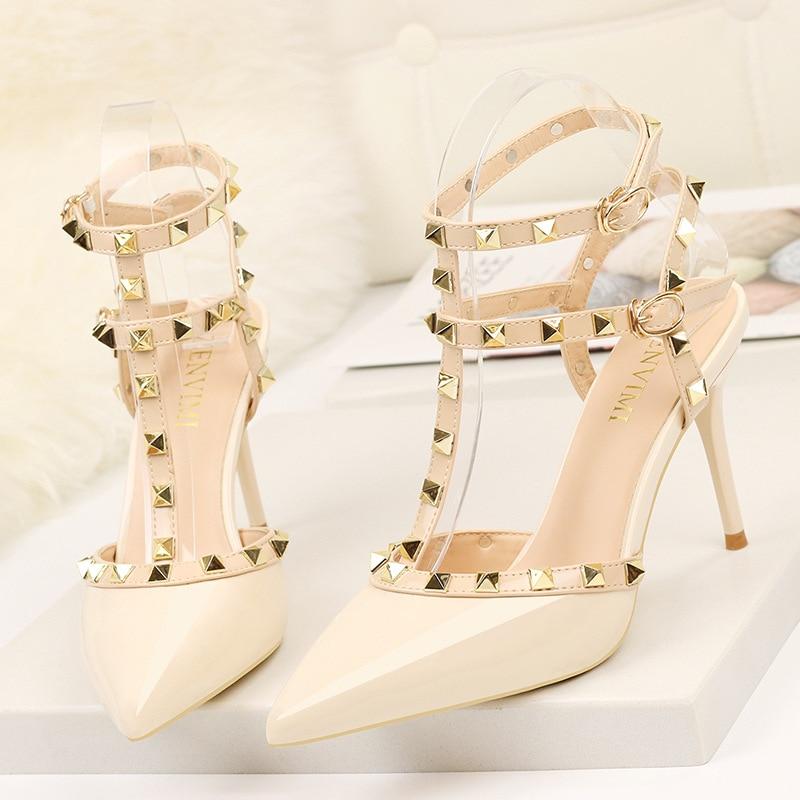 Firowe-Sandalias De tacón alto con remaches para mujer, Zapatos De vestir a...