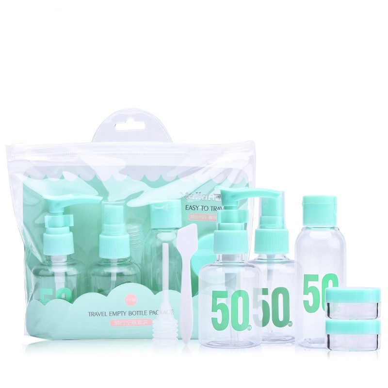 7pc Portable Travel Cosmetic Bottle Kit PET Personal Care Makeup Container Bottles By Plane Spray Lo