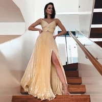 champagne spaghetti strap beaded sashes evening dresses pleated cut out long prom dress with slit special occasion dresses