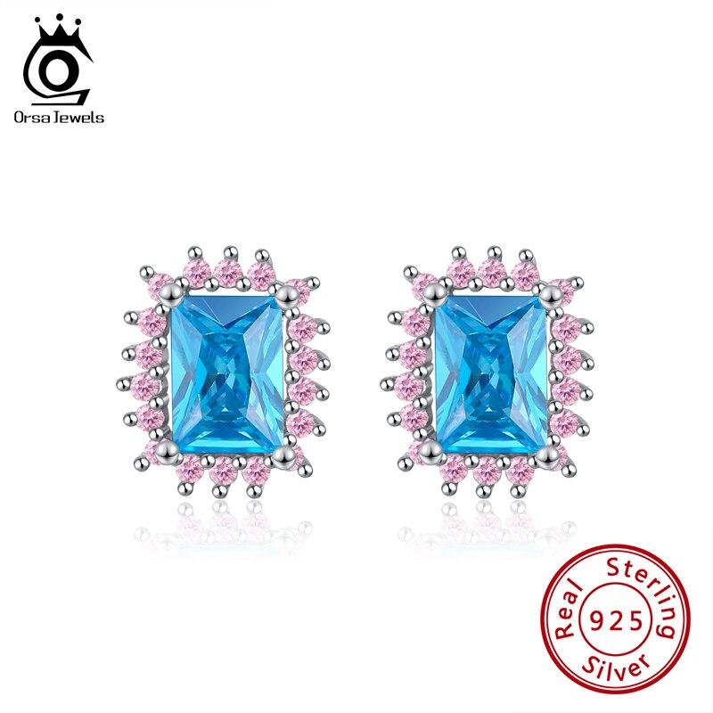 ORSA JEWELS moda novedosa 100% 925 pendientes tipo botón de plata fina para mujer Zirconia azul auténtica joyería Original regalo SE300