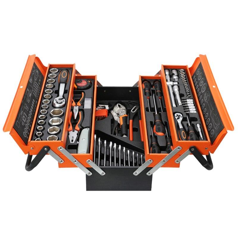حقيبة أدوات ألومنيوم محمولة صندوق ثلاثة طبقة معدن متعدد الوظائف المنزلية سيارة متعدد الطبقات طوي تخزين الأجهزة كهربائي مجموعة