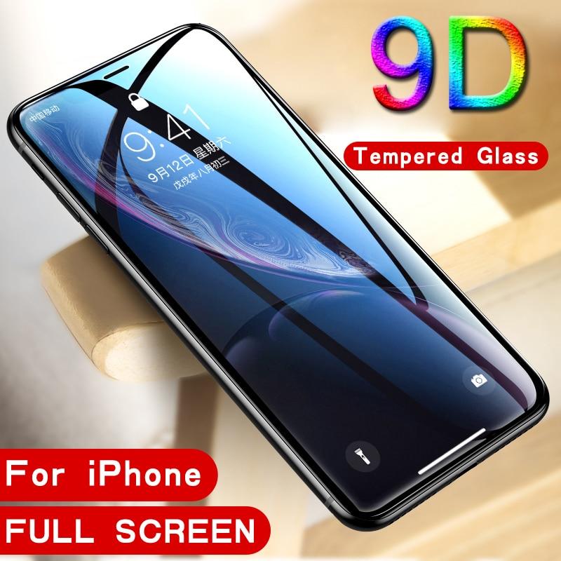 Cristal Protector 9D para iPhone 7 X XR XS 11 Pro Max, Protector de pantalla antiarañazos de alta calidad para iPhone 8 6 6S Plus 5 5S SE