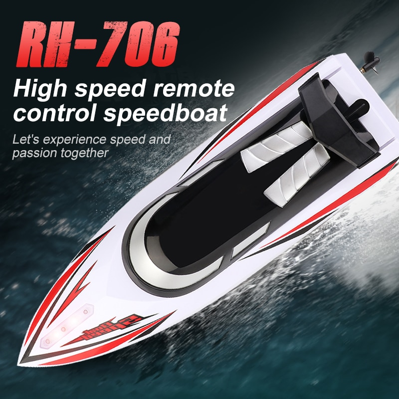 Global Drone RH706 Rc Boat 2.4G Remote Control speed boat Rechargeable Waterproof Cover Design Anti-collision Protection Design enlarge