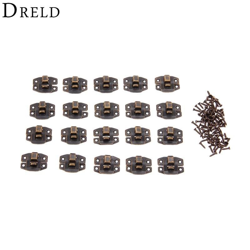 DRELD 20Pcs Antique Bronze Box Hasp Lock Catch Latches for Jewelry Suitcase Buckle Clip Clasp Furniture Hardware 24*19mm