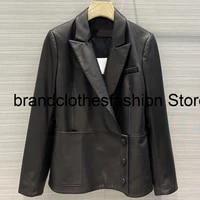 2021 new streetwear solid black elegant 100 sheepskin jacket women top quality lapel long sleeve side button fashion coat lady