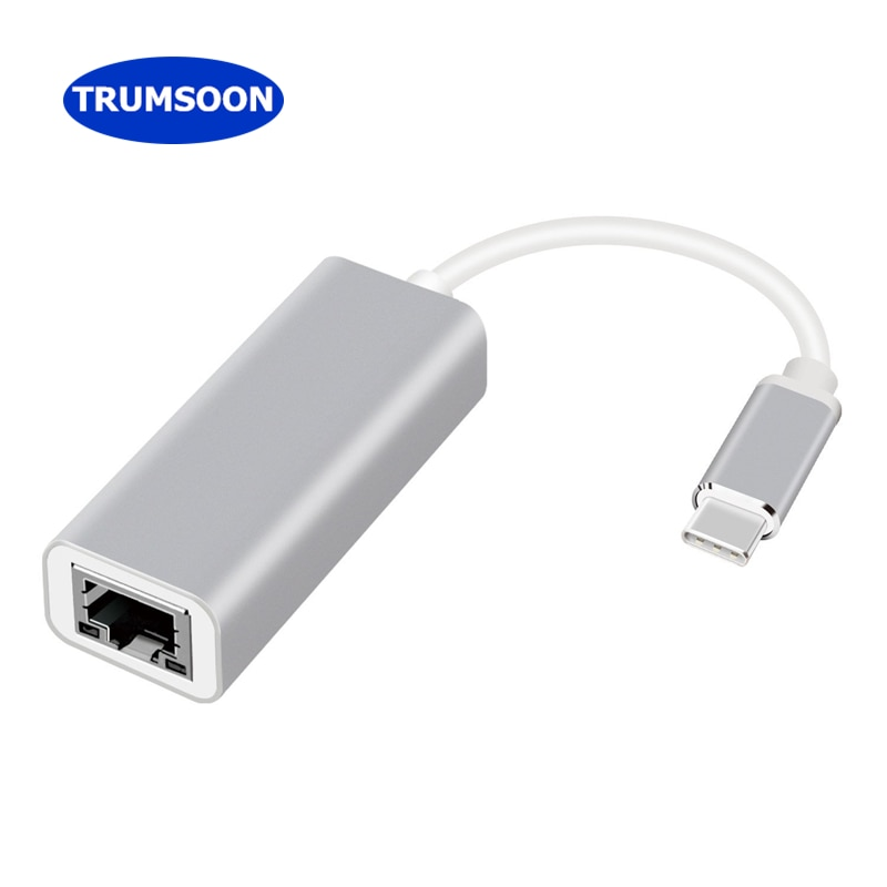 Trumsoon Type-C to Ethernet Lan 100M Cable Network Card USB 3.0 Adapter for MacBook Dell XPS15 HP EliteBook Samsung Dex