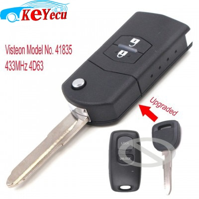 KEYECU actualizado remoto llave de coche Fob 2 botón 433MHz 4D63 para Mazda 2 3 6 323 626 MVP modelo n. ° 41835 de Visteon
