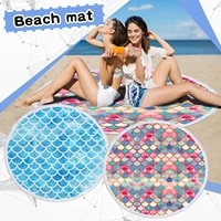 Free Shipping Round Printed Beach Towel Microfiber Shawl Beach Towel Beach Mat Pool cushion Cojin de piscina de toalla de playa