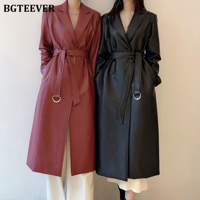 BGTEEVER أنيق حقق طوق بولي معطف معطف واقٍ من المطر المرأة كم كامل مزدوجة الصدر مربوط طويل أنثى بولي سترات سترات من الجلد 2021