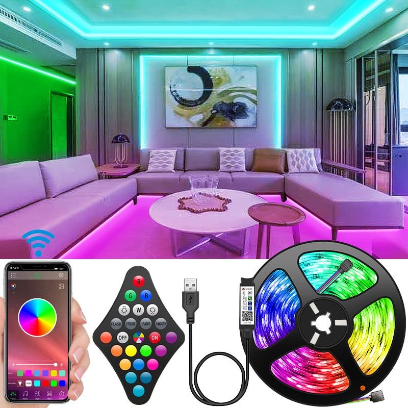 Bande lumineuse LED RGB 2835, Flexible, 5V, 2M-10M, ruban de lumière avec application de contrôle par téléphone, pour rétro-éclairage de télévision, fête à domicile