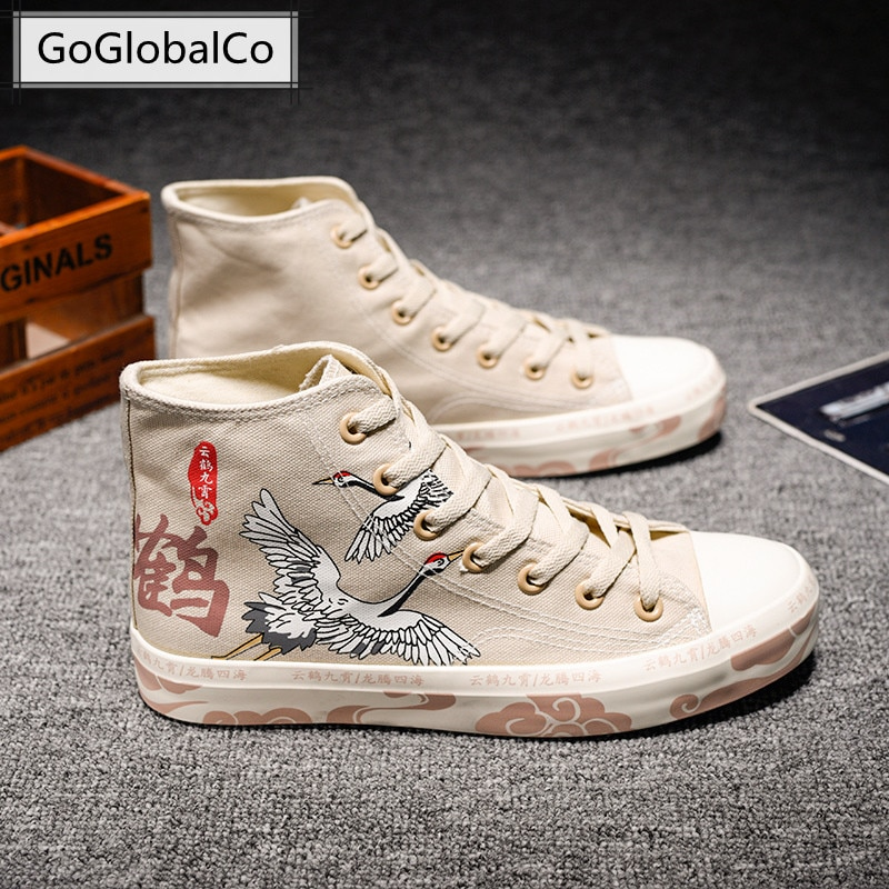 2021 Summer Mens Shoes High-Top Fashion Lace-Up Breathable Male Canvas Sneakers Comfortable Casual Vulcanized Footwear