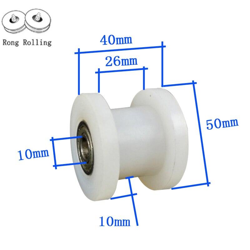 H-groove de ancho de 26mm,2 pulgadas, material de nailon, rodillos de nailon para puerta corredera, Diamante de rueda de nailon de 50mm, espesor de 40mm. 4 unids/set