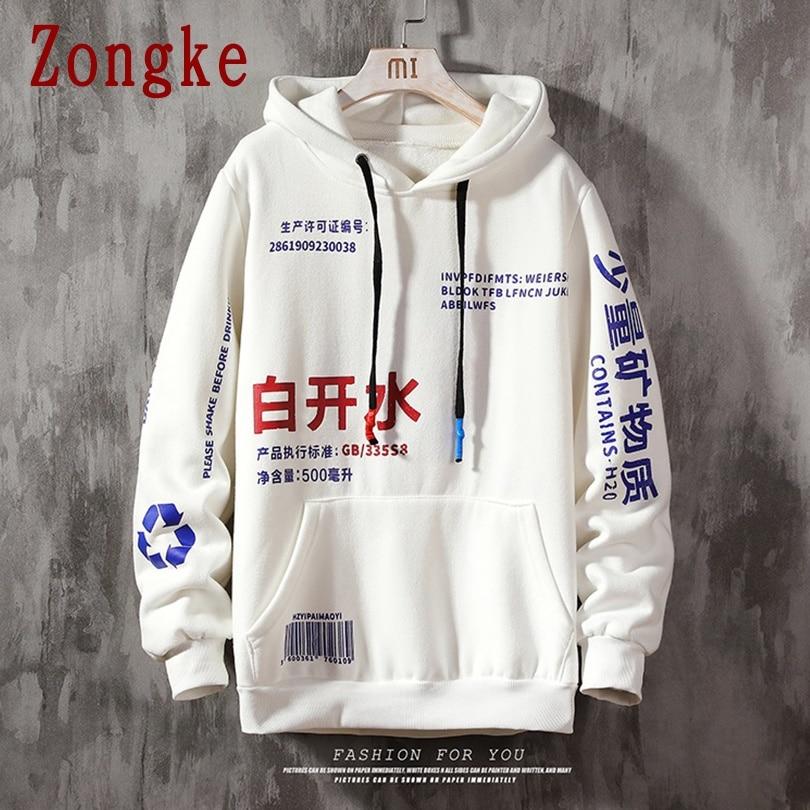 Zongke 2021 الصينية عناصر المتناثرة هوديي الرجال الملابس الرجال هوديس الهيب هوب الذكور البلوز اليابانية الشارع الشهير M-5XL