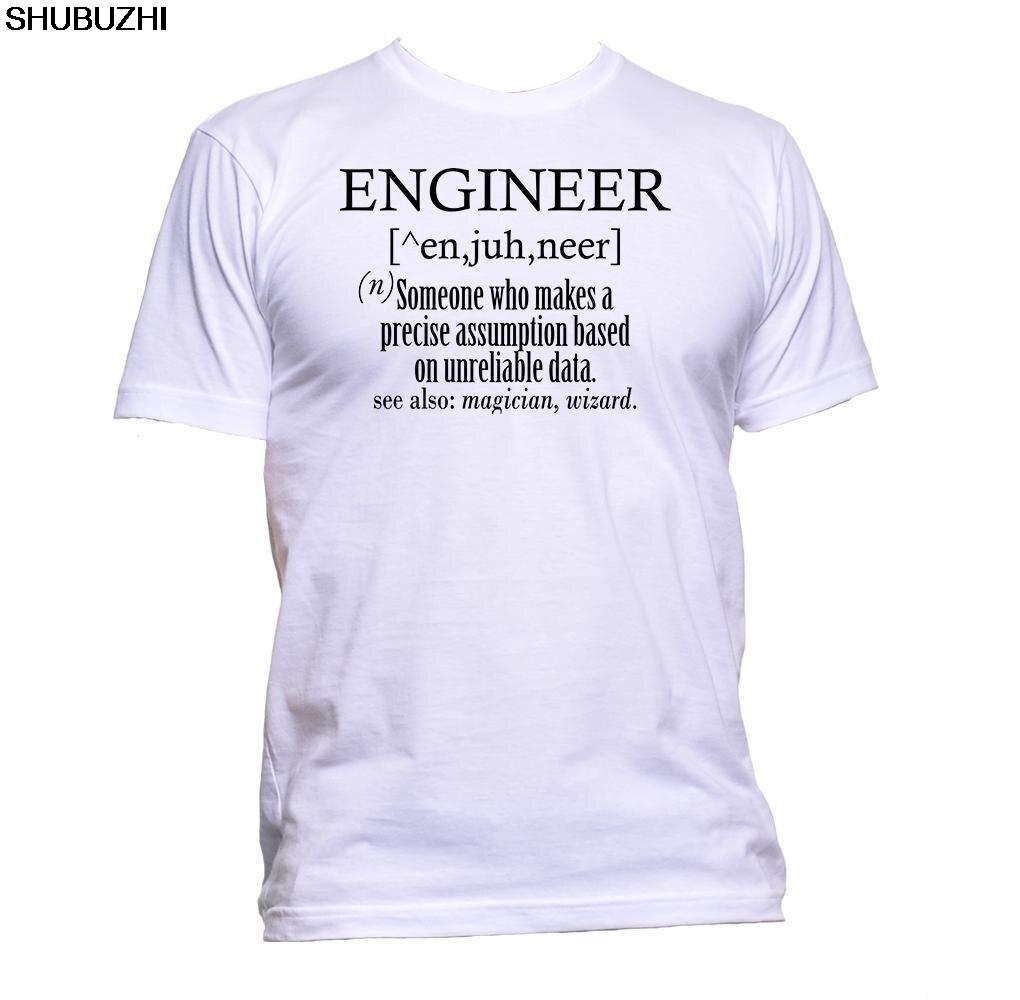 Engenheiro dicionário alguém que faz mágico slogan humor camiseta masculino marca camiseta verão algodão homem tshirt
