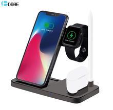 DCAE chargeur sans fil pour Apple Watch 5 4 3 Airpods Pro 4 en 1 QI 10W support de charge rapide pour iPhone 11 XS XR X 8 Samsung S10 S9