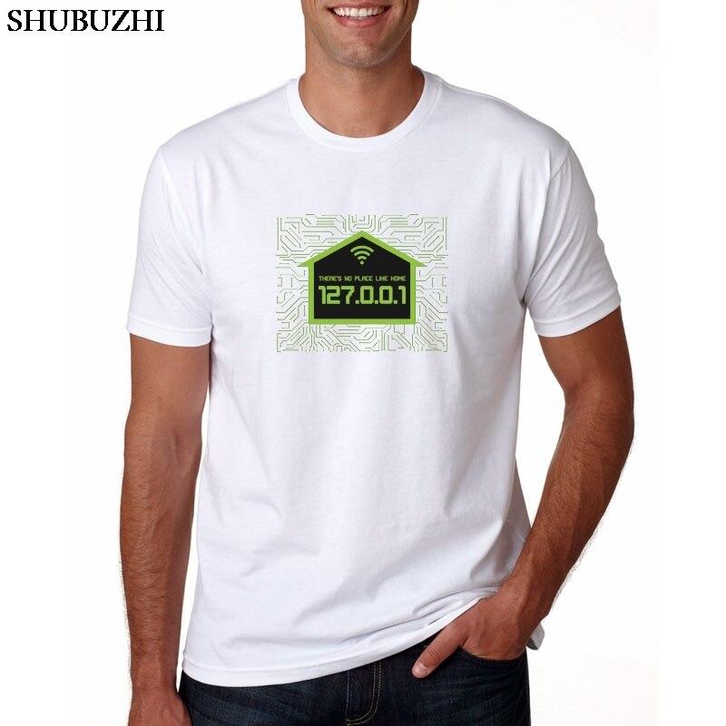 Geek masculino engraçado impresso não há lugar como 127.0.0.1 t-shirts geeks nova chegada workmate manga curta algodão solto t