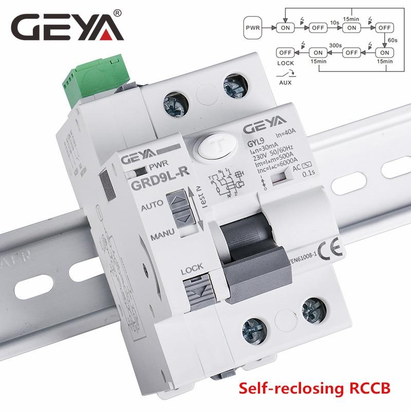 GEYA GRD9L-R RCCB Automatic Self-Reclosing Device Circuit Breaker 2P 40A 30mA100mA 300mA RCD Smart Breaker