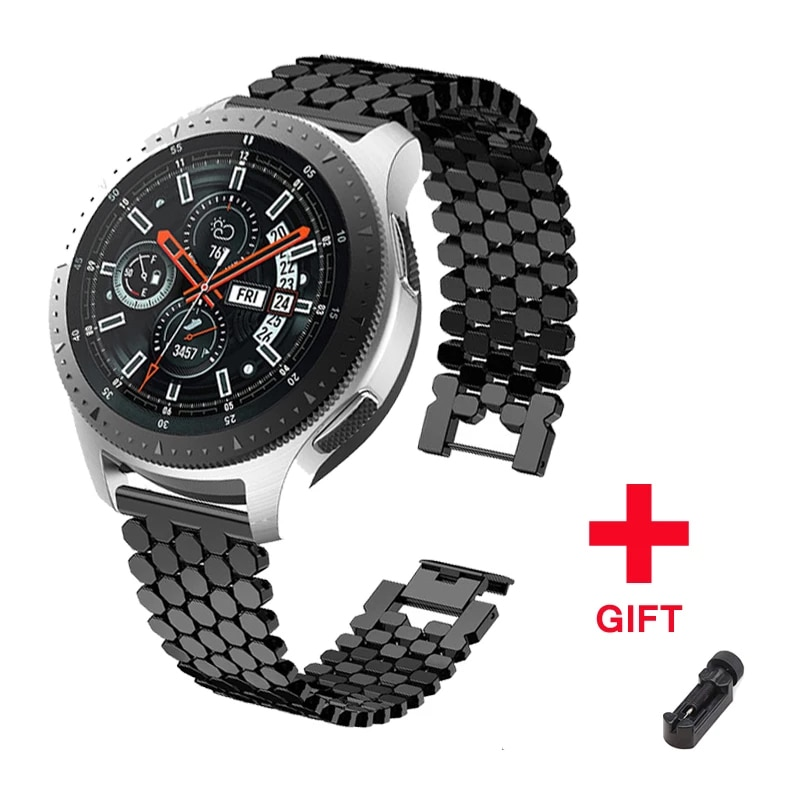 Stainless steel strap for samsung galaxy watch 46mm S3 frontier band huawei gt huami amazfit 1/2 bracelet belt Accessories