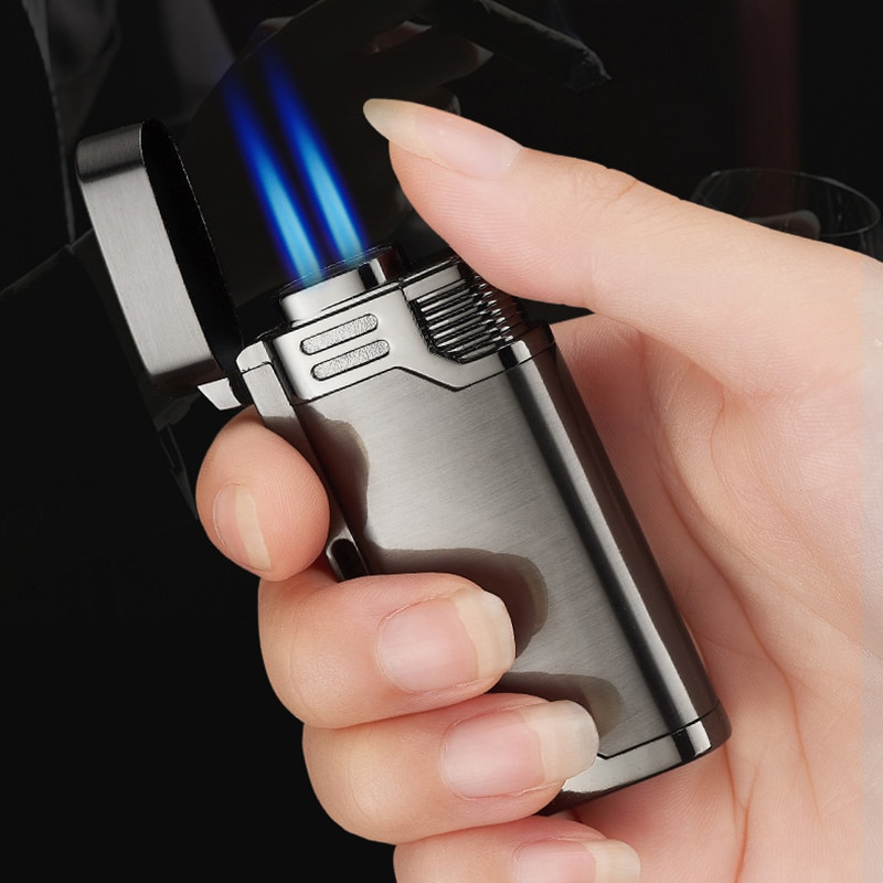 With Keychain Torch Turbine Lighter Jet Butane Blue Fire Cigar gas Lighter Cigarette Lighter 1300 C