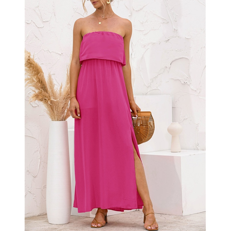 Summer Strapless Sexy Long Dress Side Split Beach Streetwear Solid Color Splice 2021 Black Party Holiday Women Maxi Dresses