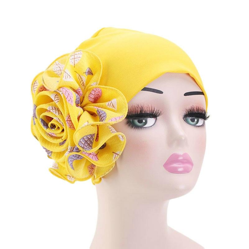 Модный мусульманский хиджаб, шарф для женщин, двойная эластичная ткань, большой цветочный тюрбан, индийская шапка, аксессуары для волос, Опт...
