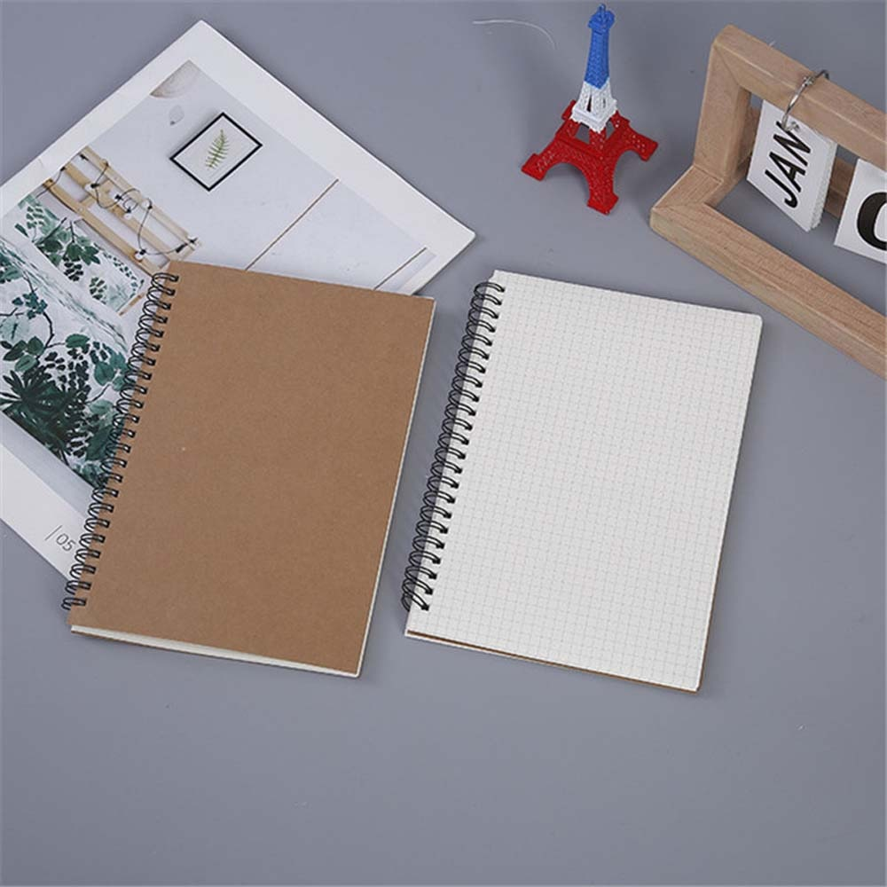 2021 new agenda coil spiral a5 diary notebook grid paper daily planner organizer notepad school office supplies stationery Kraft Paper A5 Spiral Notebook Office School Supplies Drawing Sketch Notebooks Blank Dotted Line Grid Page Planner Diary Notepad