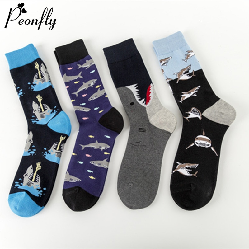 PEONFLY Novelty Streetwear Happy Socks Men Harajuku Hip Hop Shark Sea Fish Pattern Art Designer Men Socks Cotton Calcetines