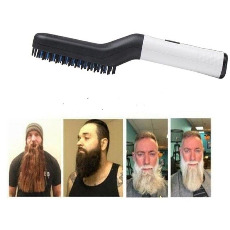 Cepillo eléctrico para hombre barba alisadora cepillo para hombre bigote recto peine rápido calor batidor estilo plano de hierro vara para alisar la barba
