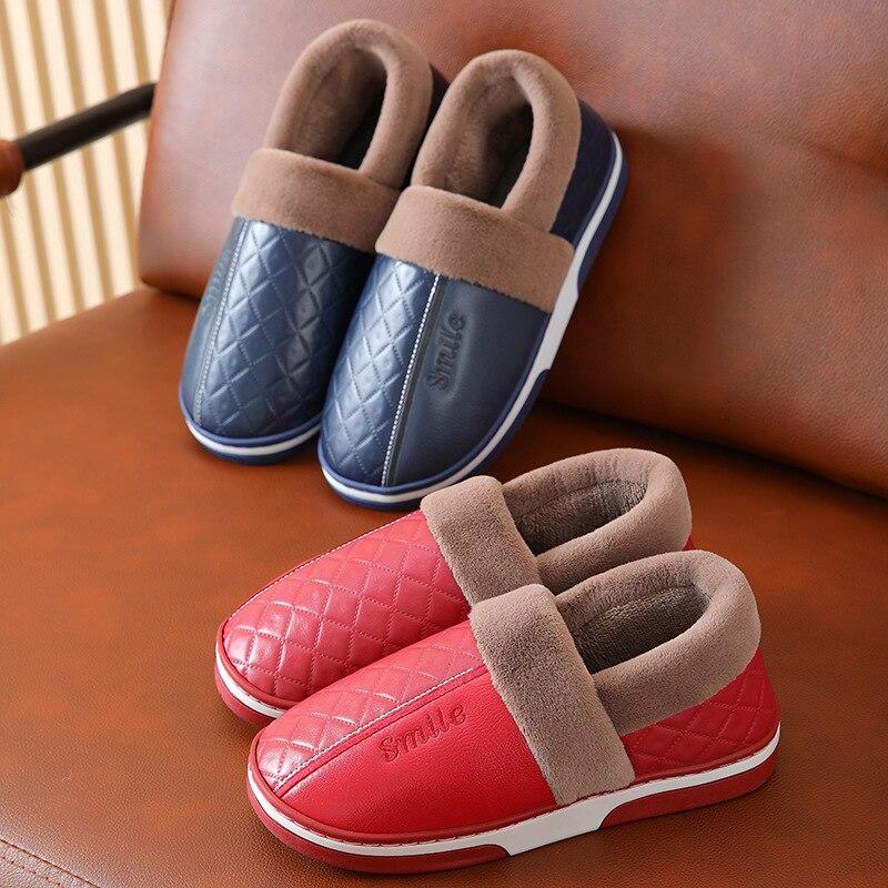 Women Winter Warm Home Slippers Mens Leather Indoor Shoes Waterproof Indoor Thicken Soles Plush Coup