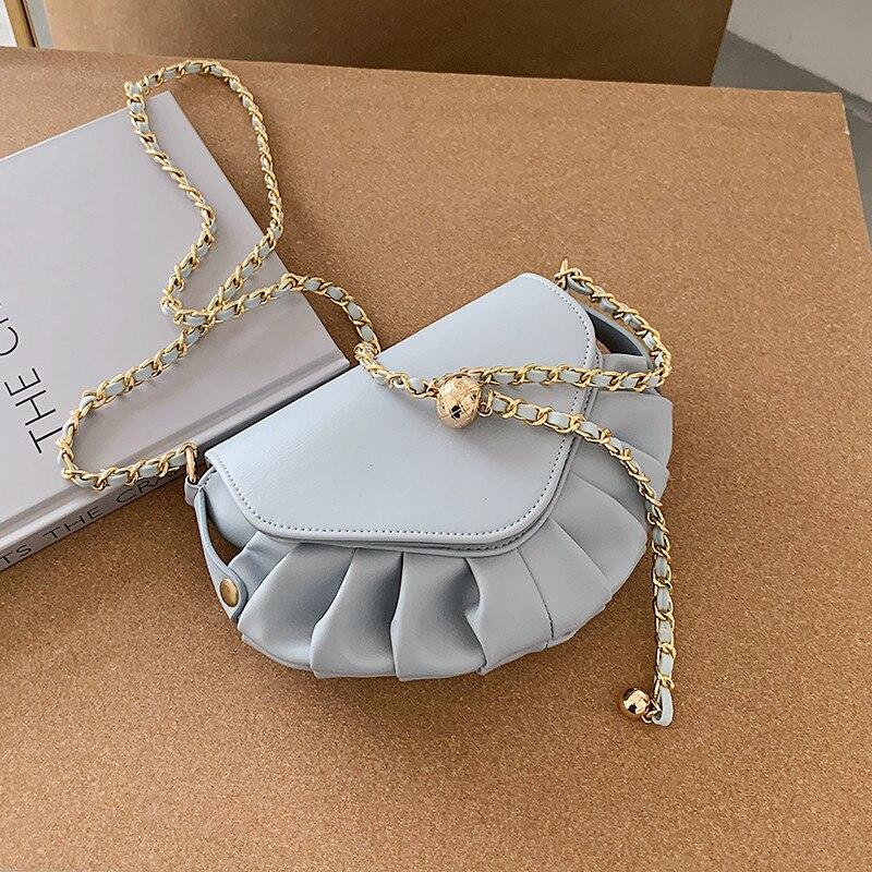 Folds Small Lady Crossbody Bag PU Leather Dumpling Bags For Women 2020 Elegant chain Shoulder bags Female Handbags white bolsa