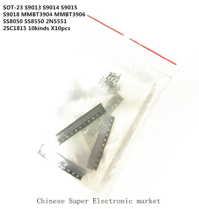 SOT-23 SMD transistor KIT S9013 S9014 S9015 S9018 MMBT3904 MMBT3906 SS8050 SS8550 2N5551 2SC1815 Total 10kinds X10pcs=100pcs
