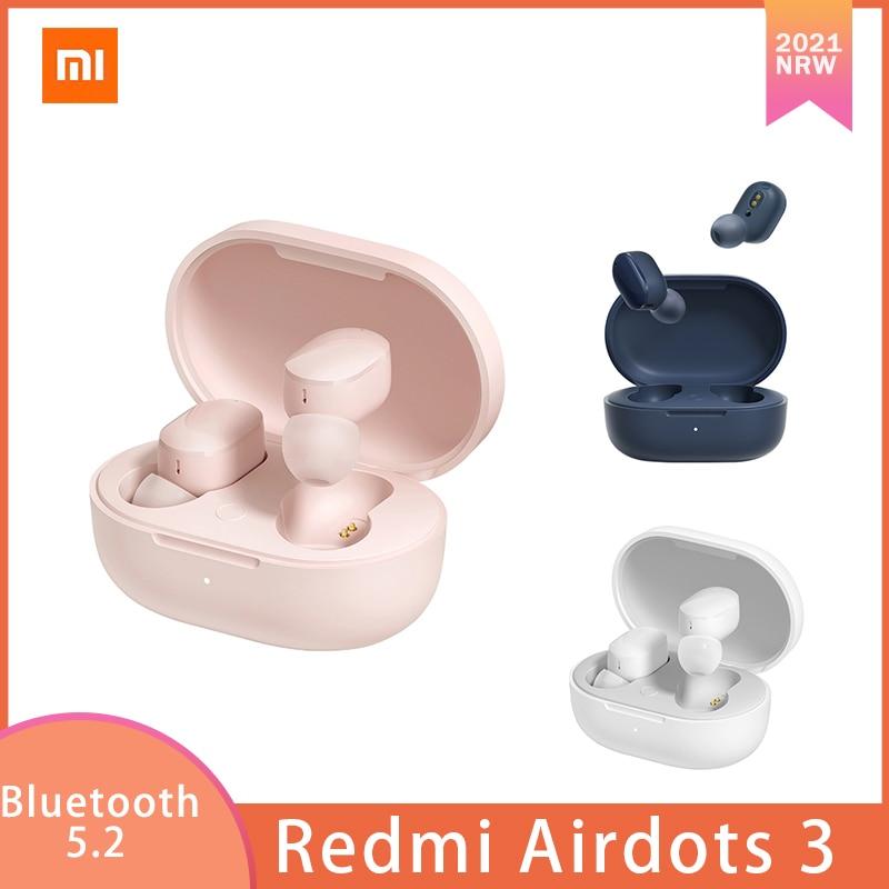 Fone de Ouvido Baixo com Microfone 3 sem Fio Xiaomi Redmi Airdots Bluetooth 5.2 Carregamento Rápido Estéreo Handsfree mi 2 2021