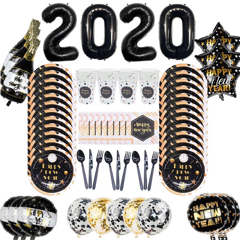 2020 frohes Neues Jahr Dekoration Supplies Folie Ballon Papier Teller Tassen Servietten Messer Löffel Gabeln Einweg Party Geschirr Set