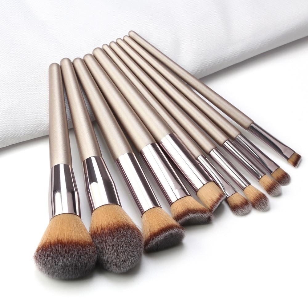 10pcs Set Champagne Makeup Brushes Set For Cosmetic Foundation Powder Blush Eyeshadow Kabuki Blending Make Up Brush Beauty Tool Eye Shadow Applicator Aliexpress