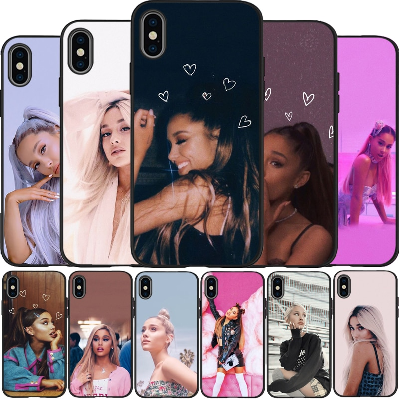 Ariana Grande AG Arco Iris edulcorante de silicona suave TPU caja del teléfono negro para iPhone 5 5S iPhone 6 7 8 plus X XS X XR XS Max 11 Pro Max