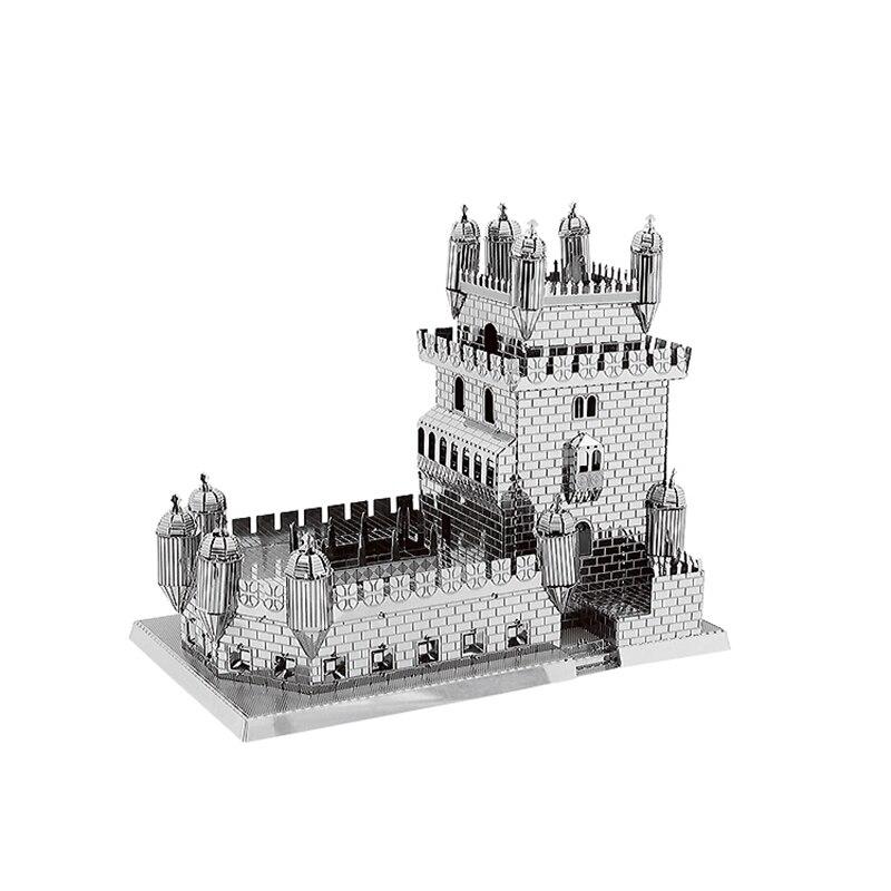 Belem torre arquitetura 3d quebra-cabeças de metal construção eiffel jigsaw construção artesanal modelo coleção adulto jigsaw presente brinquedos
