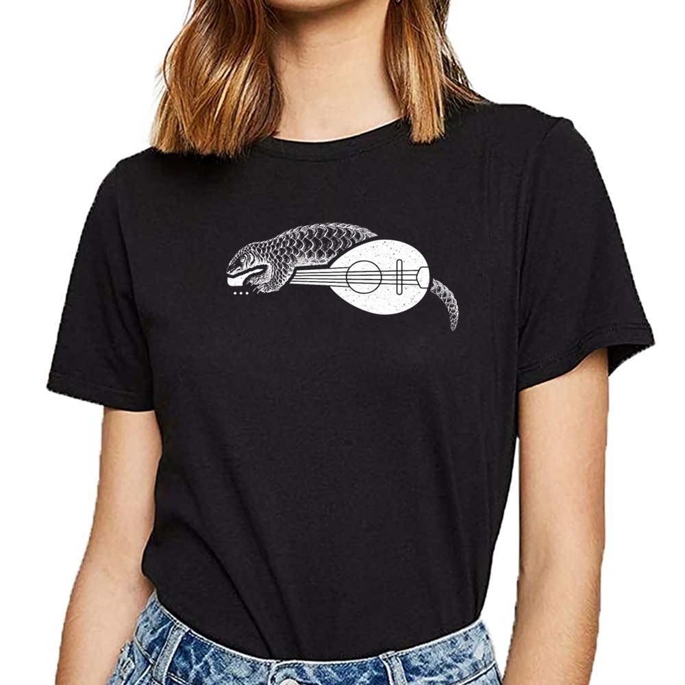 Tops camiseta mujer mandolina pangolin regalo animal nocturno Casual negro camiseta femenina personalizada