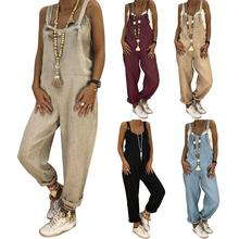 Women Jumpsuits Casual Solid Color Sleeveless Adjustable Straps Loose Jumpsuit Bib Overall Vintage L