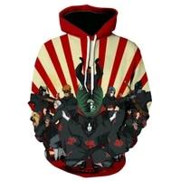 spring new mens and womens hoodies cartoon animation 3d printing childrens fashion round neck harajuku coat