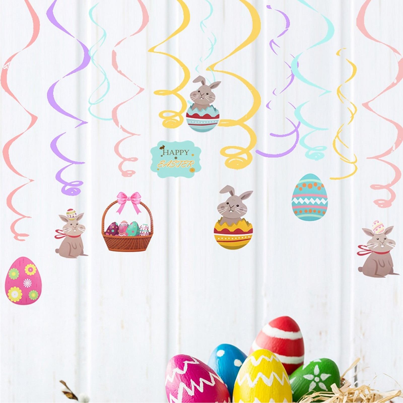 24 pçs ovo de páscoa coelho cesta teto pendurado redemoinhos espiral ornamentos conjunto para fontes festa páscoa decoração para casa