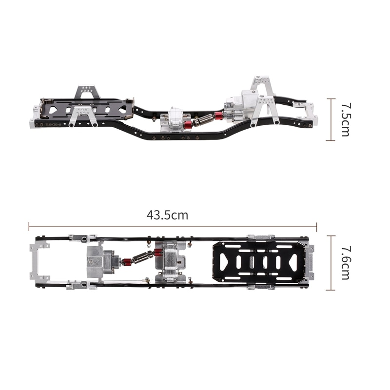 for Axial SCX10 & SCX10 II 90046 90047 1/10 RC Crawler Car Parts 31m Wheelbase Prefixal Gearbox Metal Chassis Frame enlarge