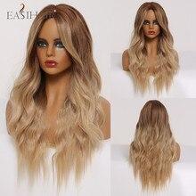 Peluca larga ondulada de color marrón a rubio, peluca sintética resistente al calor para mujeres negras, Peluca de pelo Natural para Cosplay