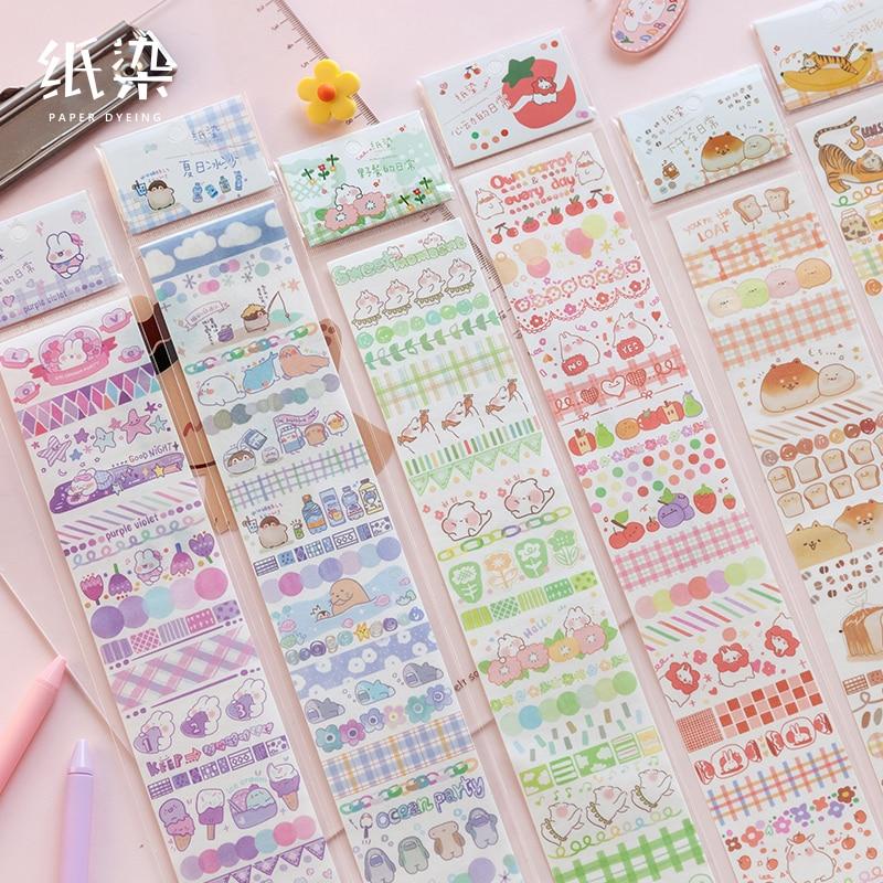 18 unids/lote a long holiday series adhesivo de papelería decoración creativa DIY traje compartido cinta de papel adhesivo washi